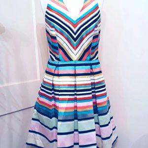 Taylor Fun Flirty Striped Halter Dress